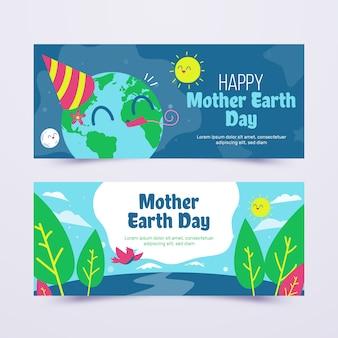 Hand getrokken banner moeder aarde dag collectie