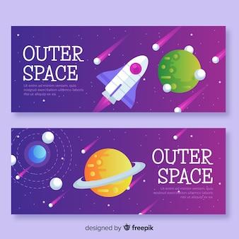 Hand getrokken banner van de ruimte