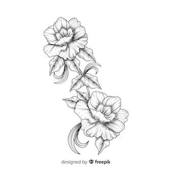 Hand getrokken barokke bloemen