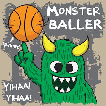 Hand getrokken basketbal baller monster