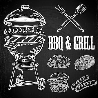 Hand getrokken bbq- en grill-elementen. gegrild vlees, hamburger, worst. ontwerpelementen voor menu, poster, label, embleem, teken. illustratie