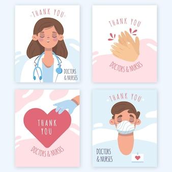 Hand getrokken bedankt ansichtkaarten van artsen en verpleegsters Gratis Vector