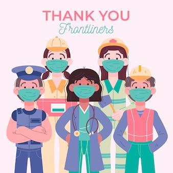 Hand getrokken bedankt frontliners