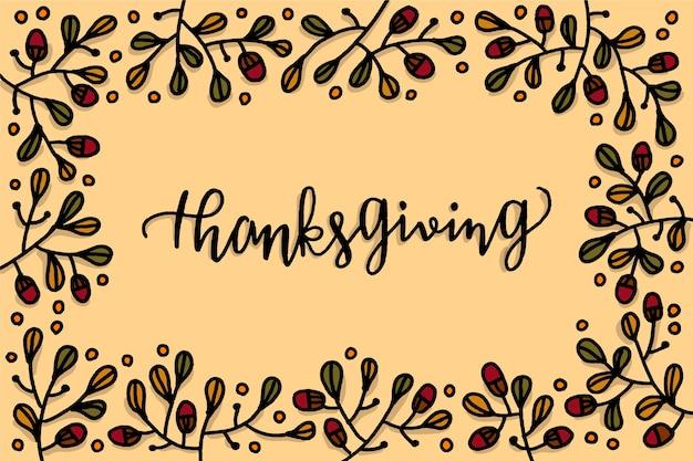 Hand getrokken behang thanksgiving