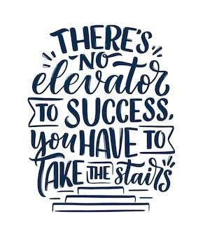 Hand getrokken belettering citaat in moderne kalligrafiestijl over succes