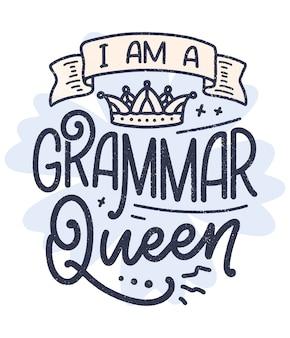 Hand getrokken belettering compositie over grammatica. grappige slogan. kalligrafie citaat.
