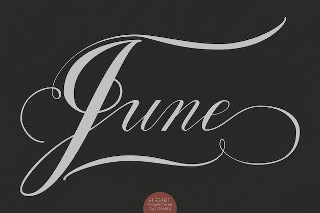 Hand getrokken belettering juni. elegante moderne handgeschreven kalligrafie. vector inkt illustratie.