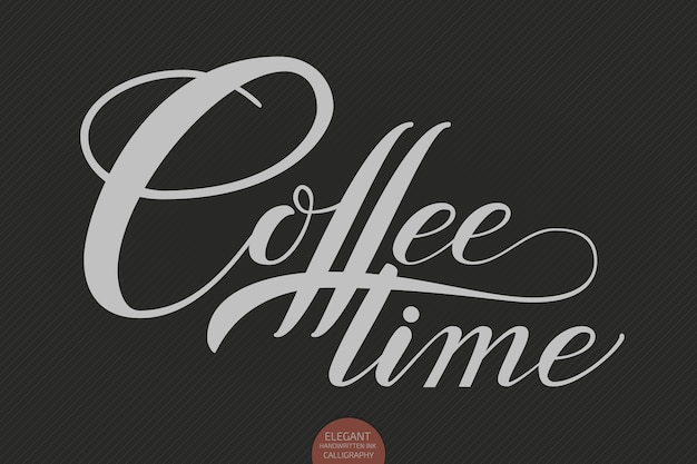 Hand getrokken belettering koffietijd.