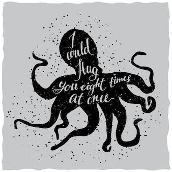 Hand getrokken belettering poster met afbeelding van octopus silhouet en offerte