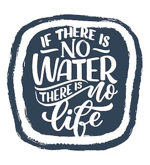 Hand getrokken belettering slogan over klimaatverandering en watercrisis