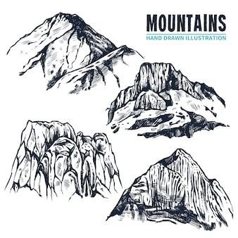 Hand getrokken bergen contouren