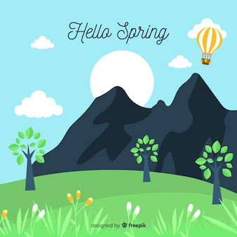 Hand getrokken bergen lente achtergrond