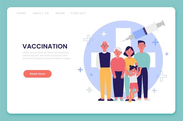 Hand getrokken bestemmingspagina voor het coronavirusvaccin