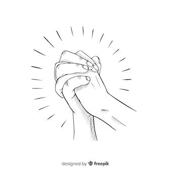 Hand getrokken biddende handen achtergrond