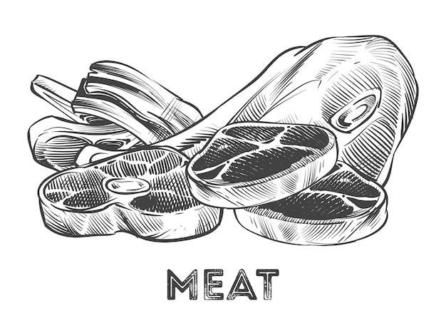 Hand getrokken biefstuk, ribben, vers vlees geïsoleerde illustratie