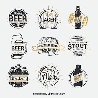 Hand getrokken bier logo-collectie