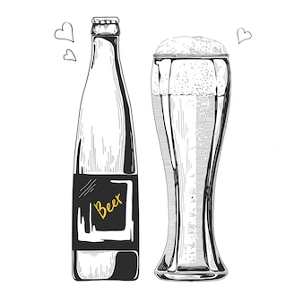 Hand getrokken bier schets