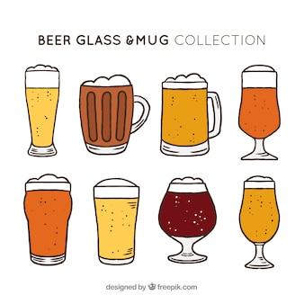 Hand getrokken bierglas en mok collectie