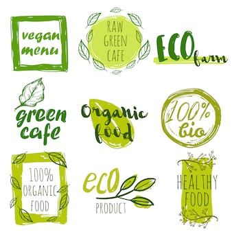 Hand getrokken biologisch voedsel tag set
