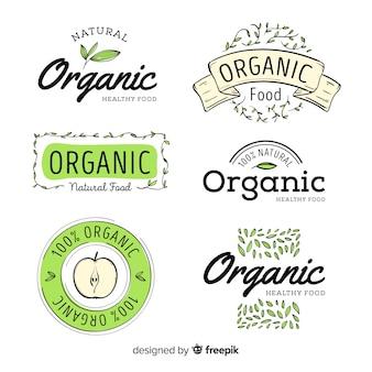 Hand getrokken biologisch voedseletiket ingesteld