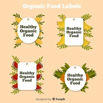 Hand getrokken biologisch voedseletiketten