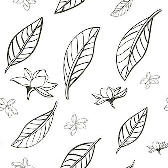 Hand getrokken blad patroon