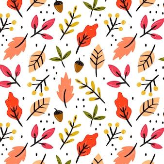 Hand getrokken bladeren naadloze patroon