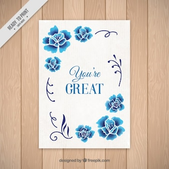 Hand getrokken blauwe bloemen kaart met een leuk bericht