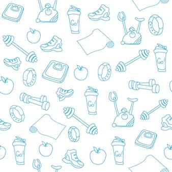 Hand getrokken blauwe fitnessapparatuur doodles. gym naadloze patroon