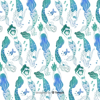 Hand getrokken blauwe kleurovergang zeemeermin patroon