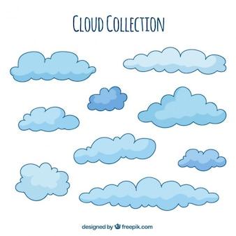 Hand getrokken blauwe wolk achtergrond