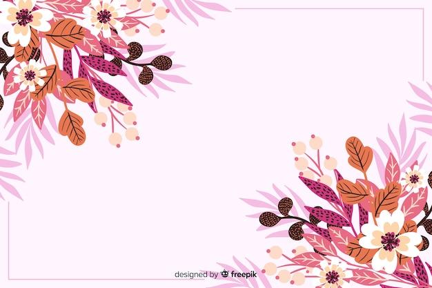 Hand getrokken bloem en bladeren achtergrond