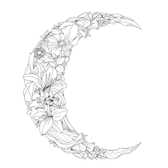 Hand getrokken bloem en bladeren in de vorm van de halve maan