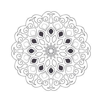 Hand getrokken bloem mandala voor kleurboek. zwart-wit etnisch hennapatroon. indisch, aziatisch, arabisch, islamitisch, ottomaans, marokkaans motief.