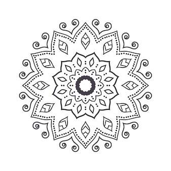 Hand getrokken bloem mandala voor kleurboek. zwart-wit etnisch hennapatroon. indisch, aziatisch, arabisch, islamitisch, ottomaans, marokkaans motief. Premium Vector