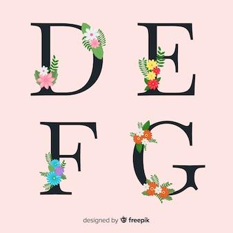 Hand getrokken bloemen alfabet Premium Vector