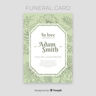Hand getrokken bloemen begrafenis kaartsjabloon