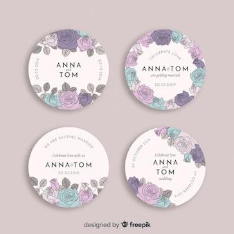 Hand getrokken bloemen bruiloft badges collectie