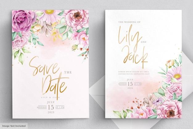 Hand getrokken bloemen bruiloft uitnodiging kaartenset Premium Vector