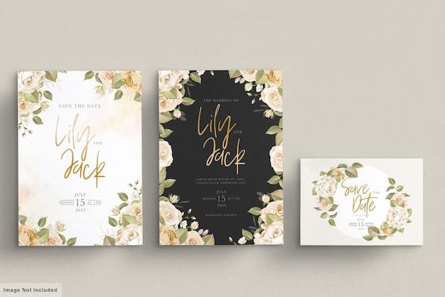 Hand getrokken bloemen bruiloft uitnodiging kaartenset