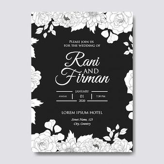 Hand getrokken bloemen bruiloft uitnodiging sjabloon