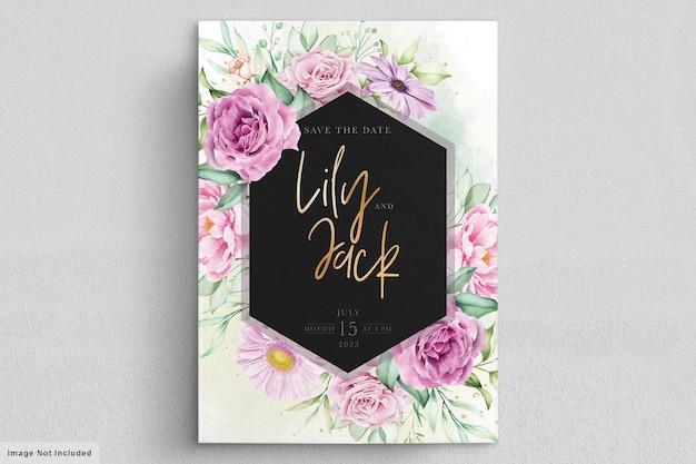 Hand getrokken bloemen bruiloft uitnodigingskaart Premium Vector