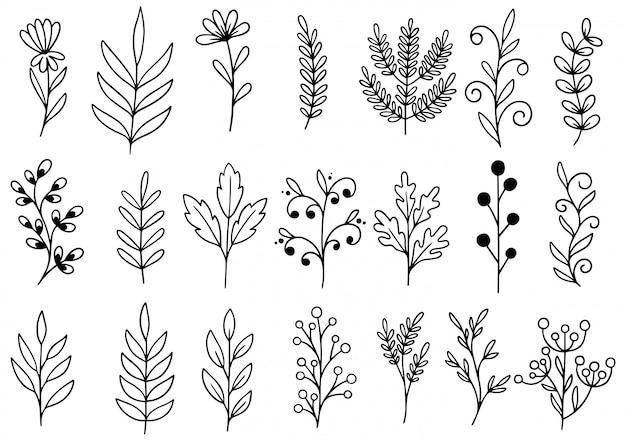 Hand getrokken bloemen doodle