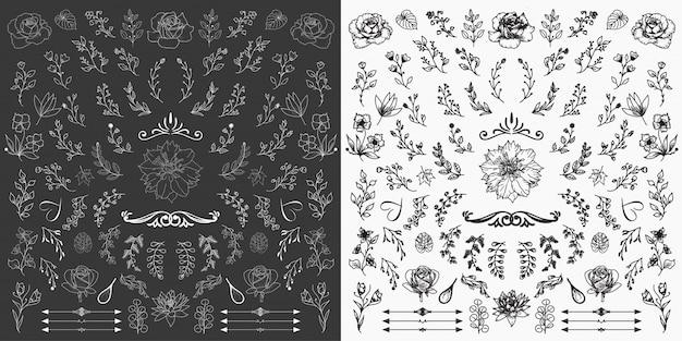 Hand getrokken bloemen elementen ontwerp vector