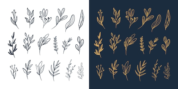 Hand getrokken bloemen en bladeren gebladerte vector nieuwe grote set