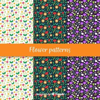 Hand getrokken bloemen en bladeren patroon collectie