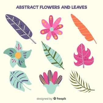 Hand getrokken bloemen en bladeren