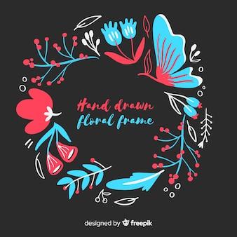 Hand getrokken bloemen frame
