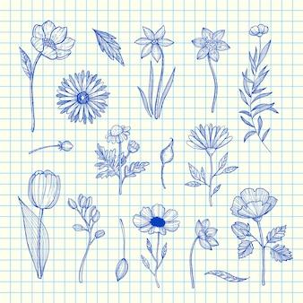 Hand getrokken bloemen ingesteld op blauwe cel blad illustratie