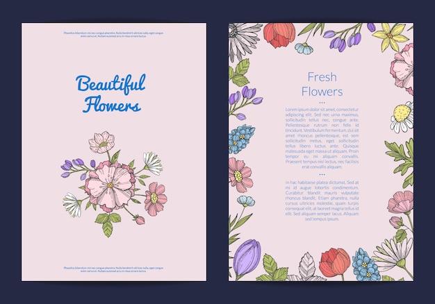 Hand getrokken bloemen kaart of folder